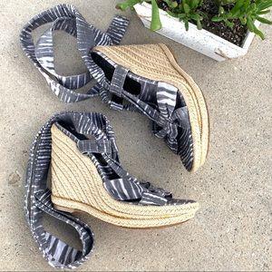 Stuart Weitzman Linen Sash Espadrille Wedge Sandal